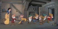 """Seven Charming Little Men"" by Lisa DeMond | Disney Fine Art | Disney's Snow White and the Seven Dwarfs"