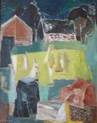 Farm with stones and cornsheaves  - Wim Bosma (Dutch painter Amsterdam 1902-1985)