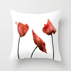 Poppies Throw Pillow by Dawn OConnor - $20.00