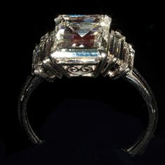 Square Cut Diamond & Platinum Engagement Ring #vintage #retro #bridetobe