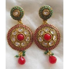 Polki red and green earrings