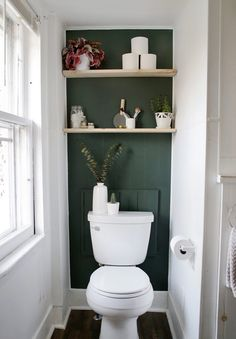 Mini Bathroom Makeover Give your bathroom a mini makeover with an accent wall and some easy diy shelves! Mini Bathroom Makeover Give your bathroom a mini makeover with an accent wall and some easy diy shelves! Diy Bathroom, Small Toilet Room, Master Bathroom Design, Bathroom Makeover, Guest Bathroom, Diy Shelves, Bathroom Decor, Bathroom Renovation, Bathroom Inspiration