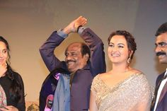 Rajinikanth, Anushka and Sonakshi at Lingaa Movie Audio Launch