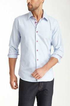Jared Lang Ave Long Sleeve Solid Shirt in baby blue with printed inner trim