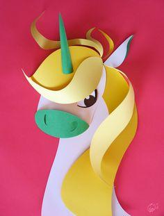 licorne papier - paper cut unicorn by Camille Epplin