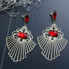 New Fashion Copper Filigree Stamping Earrings Gold Plated Pattern Red Rhinestone Hollow