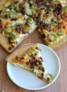 Jalapeño Popper Pizza  I used store-bought pizza crust, pickled jalapeño slices (dried), and REAL Bacon Bits instead of what this recipe called for, but still VERY yummy!!!