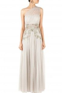 Grey one shoulder embellished gown