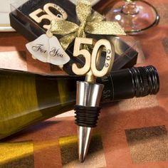 50th Anniversary Wine Bottle Stopper Favors at WeddingFavors.org