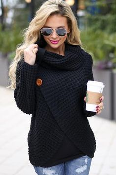 Wrap Me Up Sweater - Black - Closet Candy Boutique Winter Fashion Outfits, Autumn Winter Fashion, Winter Outfits, Fashion Fall, Womens Knit Sweater, Pulls, Black Sweaters, Mantel, Ideias Fashion