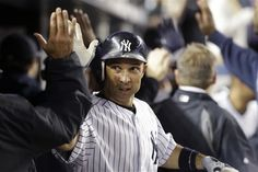 GAME 32: Friday, May 11, 2012 - New York Yankees' Raul Ibanez celebrates with teammates after hitting a three-run home run during the sixth inning of a baseball game against the Seattle Mariners in New York. (AP Photo/Frank Franklin II)