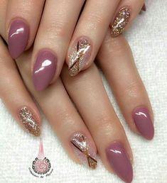 100 top best beautiful almond glitters nail art ideas nail i Fabulous Nails, Gorgeous Nails, Pretty Nails, Acrylic Nail Art, Glitter Nail Art, Brown Nail Art, Mauve Nails, Burgundy Nails, Leopard Print Nails