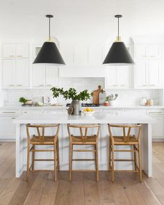 LOVE these counter stools and natural material contrast to polished white kitchen (Gabriel Counter Stool – McGee & Co. Home Decor Kitchen, New Kitchen, Home Kitchens, Kitchen Ideas, Kitchen Black, Kitchen Island, Decorating Kitchen, Kitchen Shop, White Kitchen Stools
