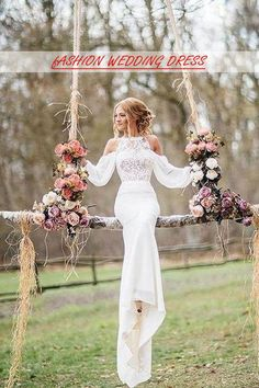 Cheap Unique Design Long Sleeves Lace Top Mermaid Long Wedding Dress PW183