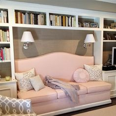 VT Interiors - Library of Inspirational Images, built in banquette, built in bookcases, small living room