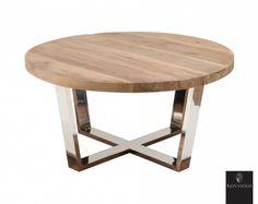 Tøft Avignon sofabord produsert i kombinasjon av et moderne understell i pusset rustfri stål og en røff og rustikk bordplate av resirkulert furu!