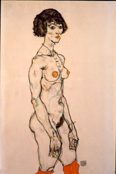 Egon Schiele, Standing Nude in Orange Stockings, 1914