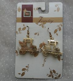 Vintage Dangle Earrings, Little Old Fashioned Cars, Brass http://etsy.me/2ncw3yf #jewelry #earrings #gold #wearablevintage #midcentury #artsupply #teamwwes #ornaments #Christmas #etsyearrings #vintageearrings #dangleearrings #carearrings #4sale #forsale #etsysells