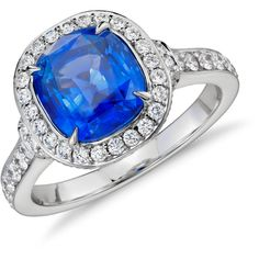 Blue Nile Cushion-Cut Sapphire and Diamond Halo Ring (309 250 UAH) ❤ liked on Polyvore featuring jewelry, rings, accessories, 18 karat gold ring, round ring, cushion cut halo diamond ring, blue nile and 18 karat gold jewelry