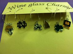 University of Notre Dame Wine Glass ID Charms on Etsy, $12.00