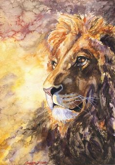 Lion watercolor Print of the Original от GeorgeWatercolorArt