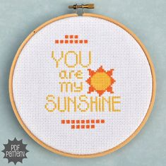 You Are My Sunshine Cross Stitch Pattern Download by Sewingseed, $4.00
