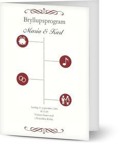 Kirkeprogram til bryllup | Program Vielse Place Cards, Place Card Holders, Design