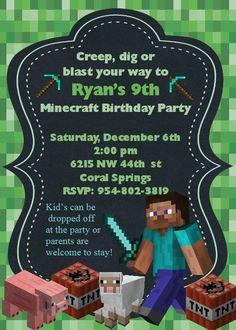 Minecraft Invitation by LittleDragonflyParty on Etsy
