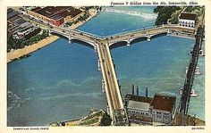 Zanesville Ohio 1940 Famous Y Bridge Muskingum Licking Rivers Vintage Postcard