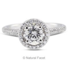 0.93ct H-SI2 Ex Round Certify Diamond 18k Gold Micro Pave Engagement Ring 1.89mm #SolitairewithAccents