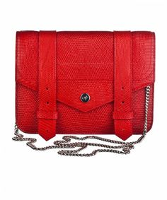 Proenza Schouler PS1 Large Chain Wallet  in Lipstick Iguana