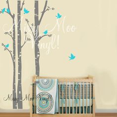 Birch Tree Decal with Flying birds Set of 3 Birch by missymoovinyl, $58.00