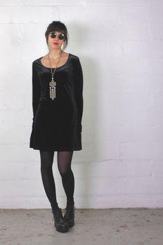 90s velvet dress / 90s babydoll dress / Express / by FLORALvision
