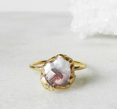 SALE Pearl ring, Keshi pearl, Gold earrings, Electroformed, Wedding, Bridesmaid, Pink tourmaline