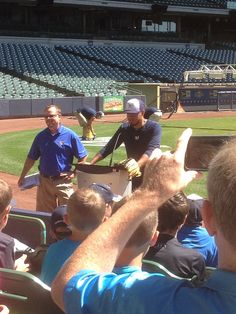 Yovani Gallardo addresses a crowd of children gathered as part of the 2014 National PLAY Campaign, which made a stop at Miller Park to promote the importance of children living a healthy and active lifestyle. #Brewers