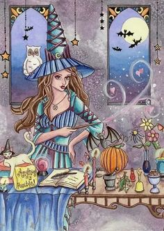 Items similar to Wiccan Witch Print - Fantasy Art - - Halloween Magic Spell Fairy - Kirra - by Nikki Burnette on Etsy Wiccan Art, Wiccan Witch, Witchcraft Spells, Magic Spells, Halloween Magic, Fall Halloween, Fantasy Kunst, Fantasy Art, Wicca Kunst