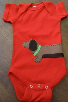 Red Wrap Around Wiener Dog Onesie  size Newborn by yellowbess, $18.00