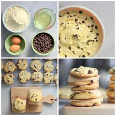 3 Recipes for 4-Ingredient Chocolate Chip Cookies - Variation 3 is the one that Nut Free people can have!