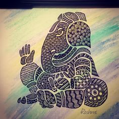 - recreated the outline from a clip art I found online and I filled it with patterns , after I had colored the page. Ganesha Drawing, Ganesha Painting, Ganesha Art, Mandala Drawing, Mandala Art, Ganesha Sketch, Drawing Flowers, Lord Ganesha, Shri Ganesh