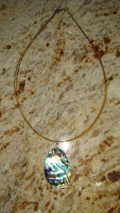 Genuine Abalone Shell On cord Necklace