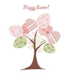 Easter background tree vector on VectorStock®