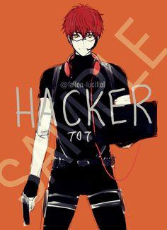 Mystic Messenger- Seven (Choi Saeyoung AU Military special forces hacker Manga Anime, Anime Guys, Anime Art, Mystic Messenger Characters, Mystic Messenger Fanart, Seven Mystic Messenger, Luciel Choi, Jumin Han, Saeran