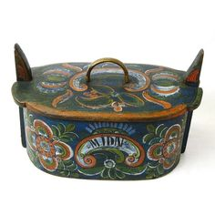 Norwegian Rosemaling Decorated Os Style Tine Box, Annias / Midthus Tveit, 1864