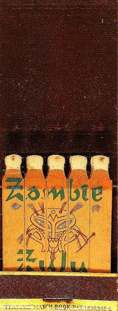 Zombie Zulu #feature #matches #tiki To design & order your business' own logo's matchbooks GoTo: www.GetMatches.com or call 800.605.7331 Today!