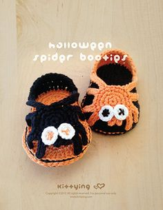 Halloween Crochet Pattern Spider Carefree Sandals Spider Baby Booties Spider Newborn Sandals Spider Newborn Slippers Spider Spider Applique by Crochet Pattern Kittying from Kittying.com / Mulu.us