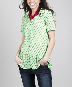 Another great find on #zulily! Green & Red Jovially Button-Up Top #zulilyfinds  $19.99, regular 30.00