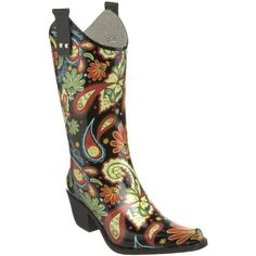 """Cowboy Rain Boots Black Multi Paisley Rubber Vegan (10) Fourever Funky. $44.90. Heel Height: 2.25"""". Fitting Tip: Rain boots generally run 1/2 to 1 size big. Rubber upper, Rubber sole. Shaft height measures approximately 11 1/2"""" from arch. Save 36% Off!"""