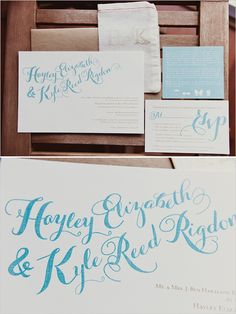 blue and white calligraphy wedding invite #weddinginvitation #calligraphy #weddingchicks http://www.weddingchicks.com/2014/02/11/blue-and-coral-backyard-wedding/