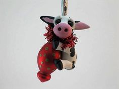 CHRISTMAS COW Collectible Keepsake Ornament Hereford Calf Whimsical Gift Idea…