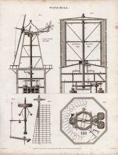 1816 GEORGIAN PRINT ~ WINDMILL ~ PARTS ELEVATION & PLANS | eBay